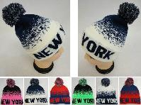 Knitted Hat with PomPom [NEW YORK] Digital Fade